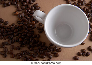 coffee time - Kaffeezeit - coffe cup with coffee beans on...