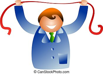 stretching red tape - business man stretching red tape...