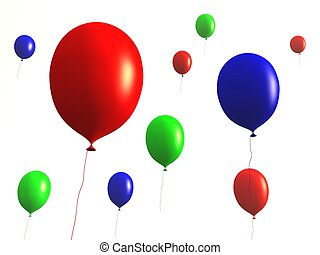Balloons - isolated - 3D rendered Balloons. Isolated on...