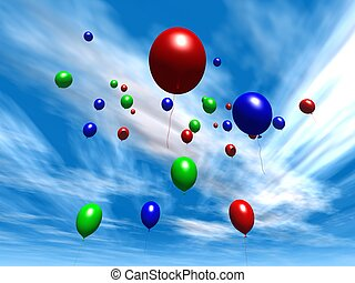Balloons - Daytime S - 3D rendered Balloons. Wide Angle...
