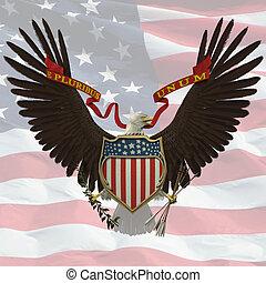 US Emblem over the US flag background