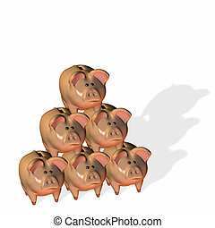 Piggy Bank Pyramid - Six piggy banks stacked in a pyramid