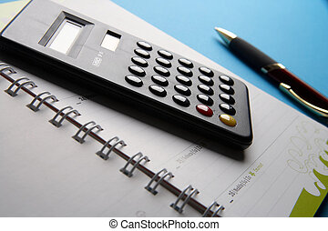 Calculation of times - Zeitrechnung - calculator laying on a...