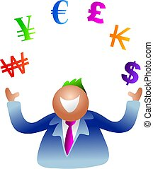 juggling currency - business man juggling world currency...