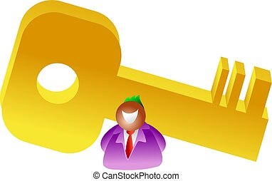 giant key - businessman with giant golden key