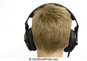 Boy with Headphones - Enjoying the sound of silence