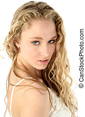 Teen Girl Glamour - Close-up of a beautiful blonde model...