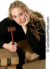 Woman Judge Law - Beautiful blonde judge in black robe with...