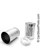 Tin cans and string - made of tin cans and string