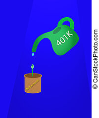 Financial Plan - 401K watering can dripping small amount of...