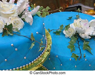 Cake decoration - Blue cakes decor- Focus on right cake