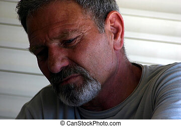 Sad Man Portrait - Sad Man with Gray Hair and Goatie-...