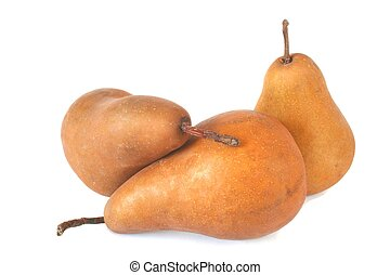 Bosc Pears - Three Bosc Pears are Presented against a White...