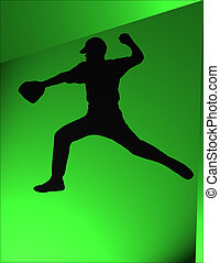 Baseball - Pitcher about to throw a baseball. Silhouette....