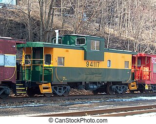 Caboose parked - parked caboose at rest