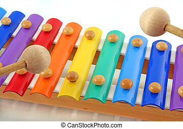 music playing - colourful child\\\'s glockenspiel with two...
