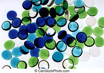Abstract Blue Green - Blue, green and clear flat glass...