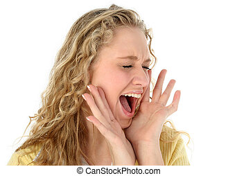 Girl Teen Yelling - Close-up of a pretty blonde teen holding...