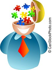 puzzle brain - businessman with puzzle solutions going on...
