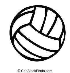 volleyball silhouette - Black and White Volleyball...
