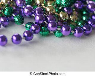 Mardi Gras Beads close up top - Close up photo of mardi gras...