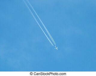 Jet airliner high in the sky