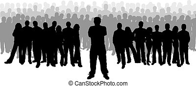 Leadership - Large group of people with one person at the...