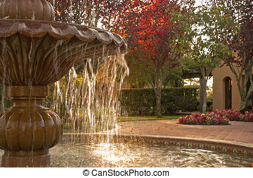 courtyard fountain - fountain detail, show part of pool and...