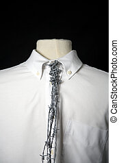 Tied 1 - White shirt with barbed wire tie