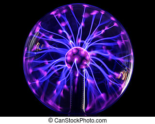Plasma lamp - Colorful plasma lamp experiment on a black...