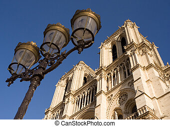 Notre-Dame de Paris - Low-angle view of Notre-Dame cathedral...