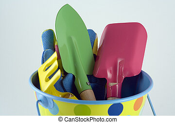 Gardening Tools - Bucket, spade, trowel, rake and gloves