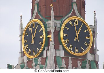 Kremlin clock - Clock at Spasskaya tower, Kremlin, Moscow