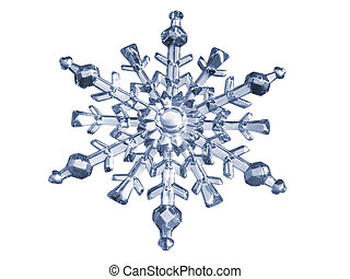 Blue Snowflake made of glass with clipping path