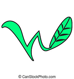the W leaf logo - a W shaped plant / leaf drawing or clip...