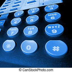 blacklit phone keys - blue glowing - phone keypad