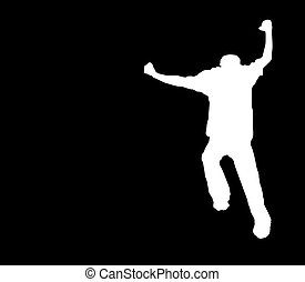 Run Away! b&w Clipping Path - a crazy silhouette - includes...