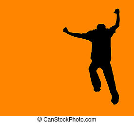 Orange Run Away! - clipping path incl - black silhouette on...