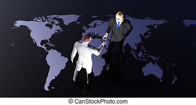Global Meeting - Two men shake hands on the global stage