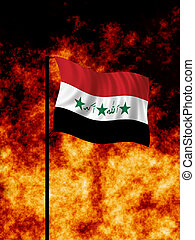 Iraq War - The Iraq flag flies in front of a war torn...