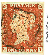 First stamp design - The 1841 British Penny Red from Plate...