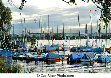 River Alster3 - Sailing boats on the river Alster in Hamburg...