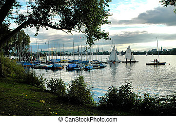 River Alster2 - View onto sailing boats and catamarans on...
