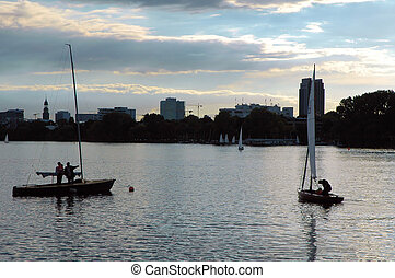 River Alster1 - Two sailing boats on the river Alster in...