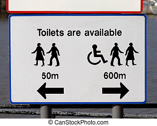 Toliets are availabl - Toilets ar available sign