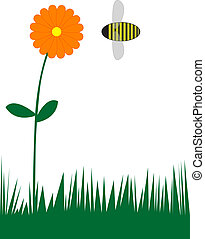flower and bee - Background useful for scrabbooking, recipe...
