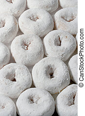 sugar donuts - rows of mini sugar doughnuts