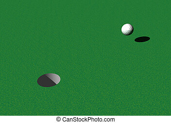 Hole in One - Ball moving toward the Hole The shadow of the...
