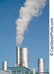 Steam rising from a tower