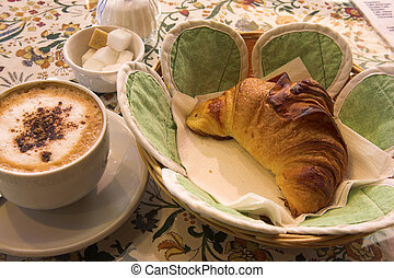 Pastry #45 - Coffee and Croissant in a French Patisserie -...